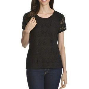 🌞89th & Madison Black Lace Blouse Sz XL
